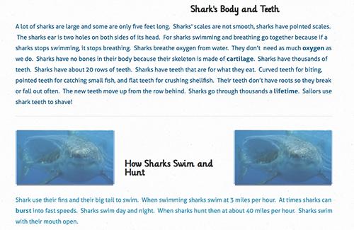 Screenshot of student blog post about sharks
