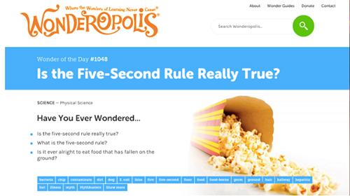Screenshot of Wonderopolis