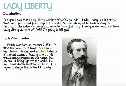 Screenshot of a blog post about Lady Liberty
