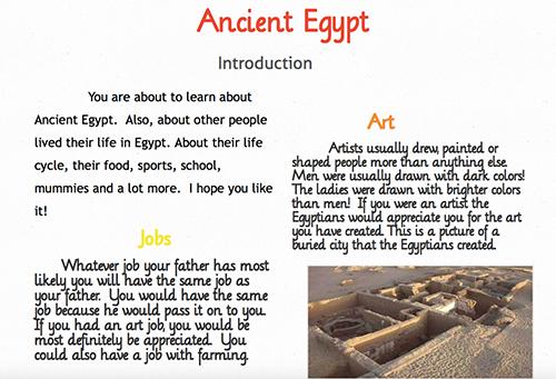 Screenshot of Ancient Egypt blog post