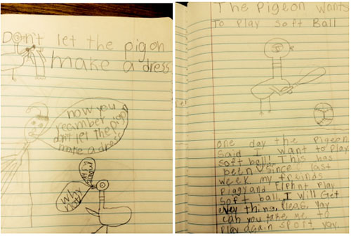 A student's writing and drawings on lined notebook paper