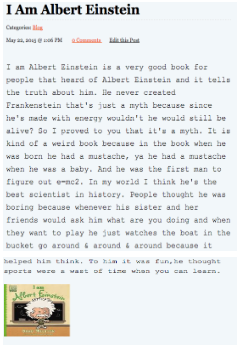 "Screenshot of student's post titled ""I am Albert Einstein"""