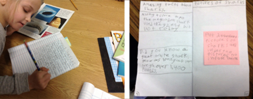 Split image with student writing on the left and her written material on the right