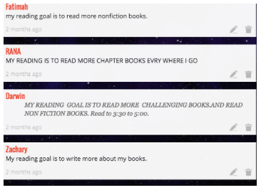 Student reading goals