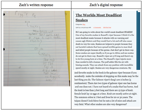 Side-by-side comparison of student's hand-written and digital responses