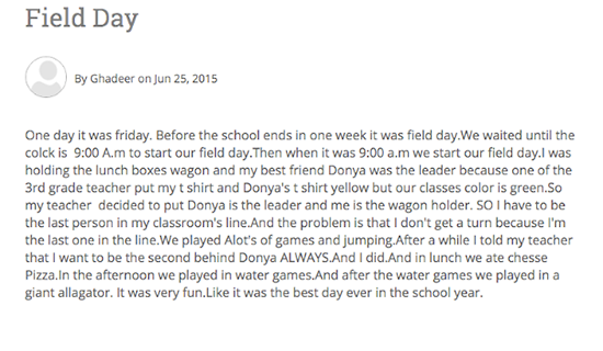 """Screenshot of student blog post titled """"Field Day"""""""