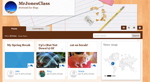 Front page of class website