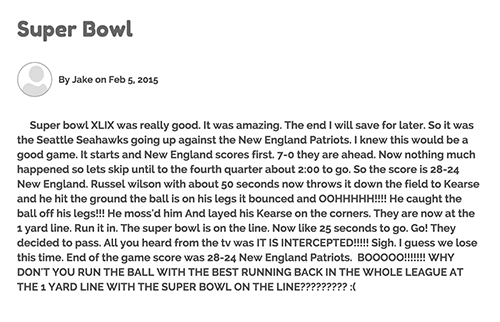 Jake's blog post about the Super Bowl
