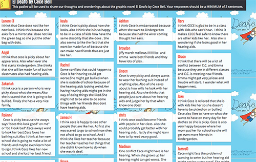 Padlet with student comments