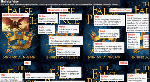 """A digital student comment board with student comments related to """"The False Prince"""""""