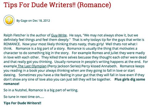 Screenshot of student's blog post