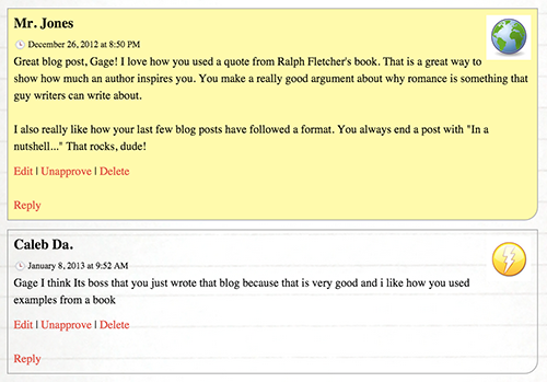 Comments on student's blog