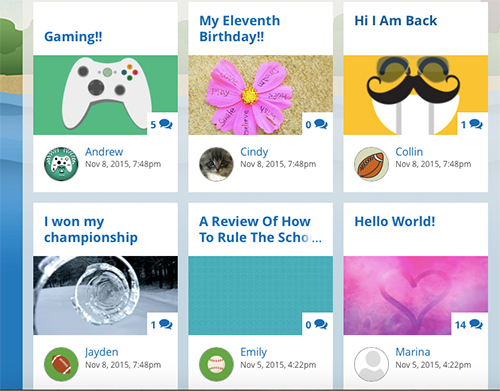 Homepage showing various students' blog posts