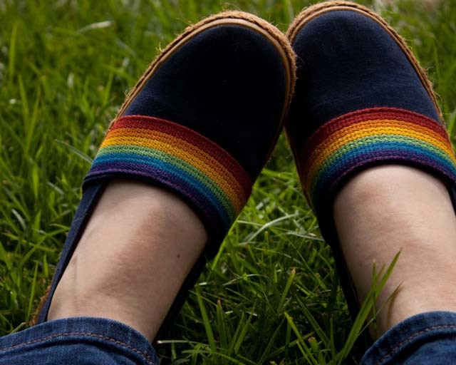 picture of shoes with rainbows on them