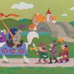 cartoon rendering of a knight and its serfs