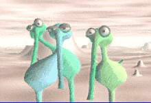 graphic of blue and green creatures with long nose and circular bodies
