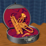 a saxobone in its box, rendered as graphic