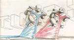 storyboard with two people on red and blue stream bikes