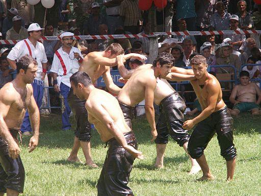 Image of oil wrestling