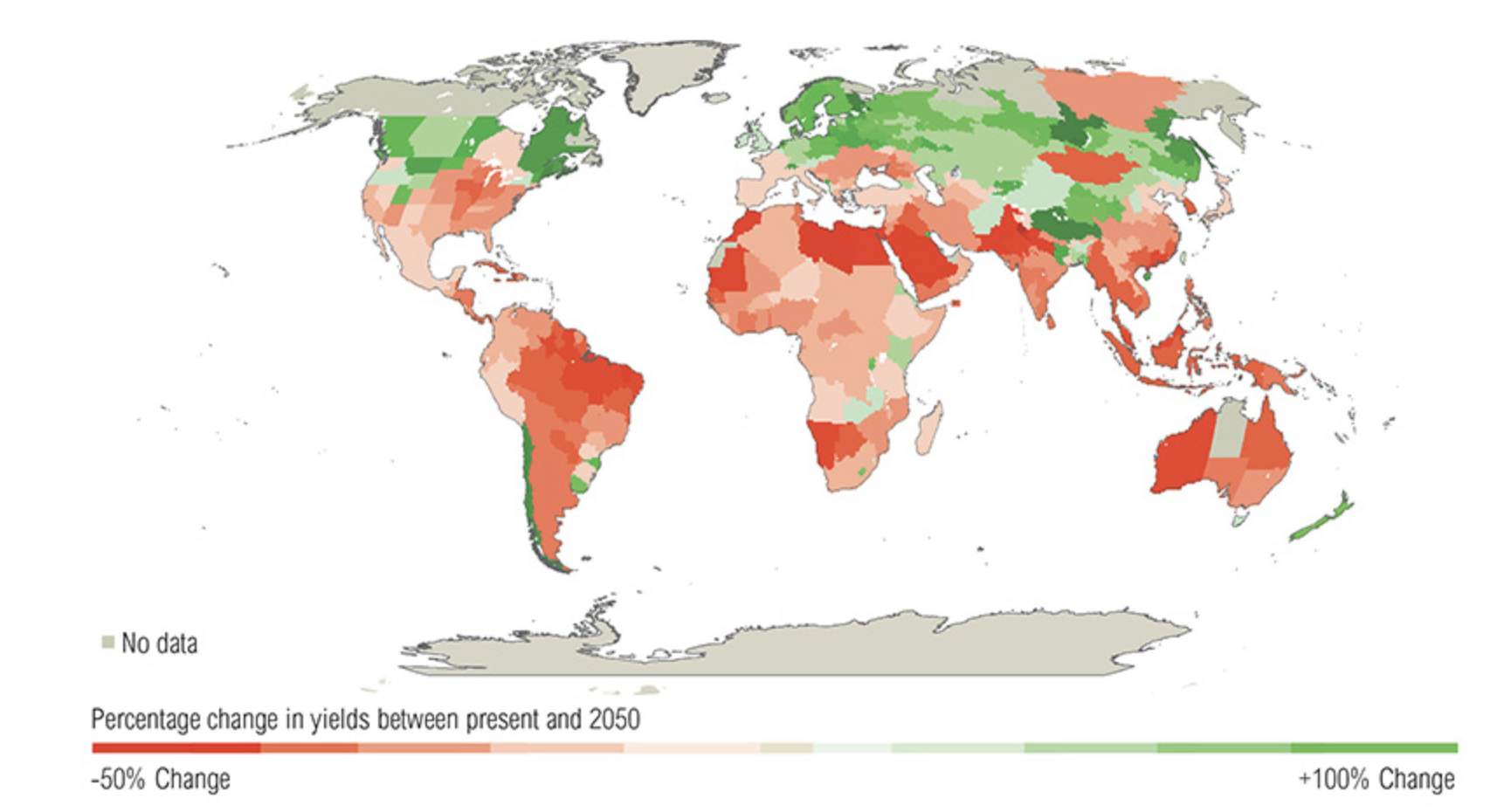 world map showing the effect of a 3 degree increase on crop yields due to climate change represented by varying shades of color between present unto 2050. There are areas experiencing up to a positive 100% change and others a -50% change.