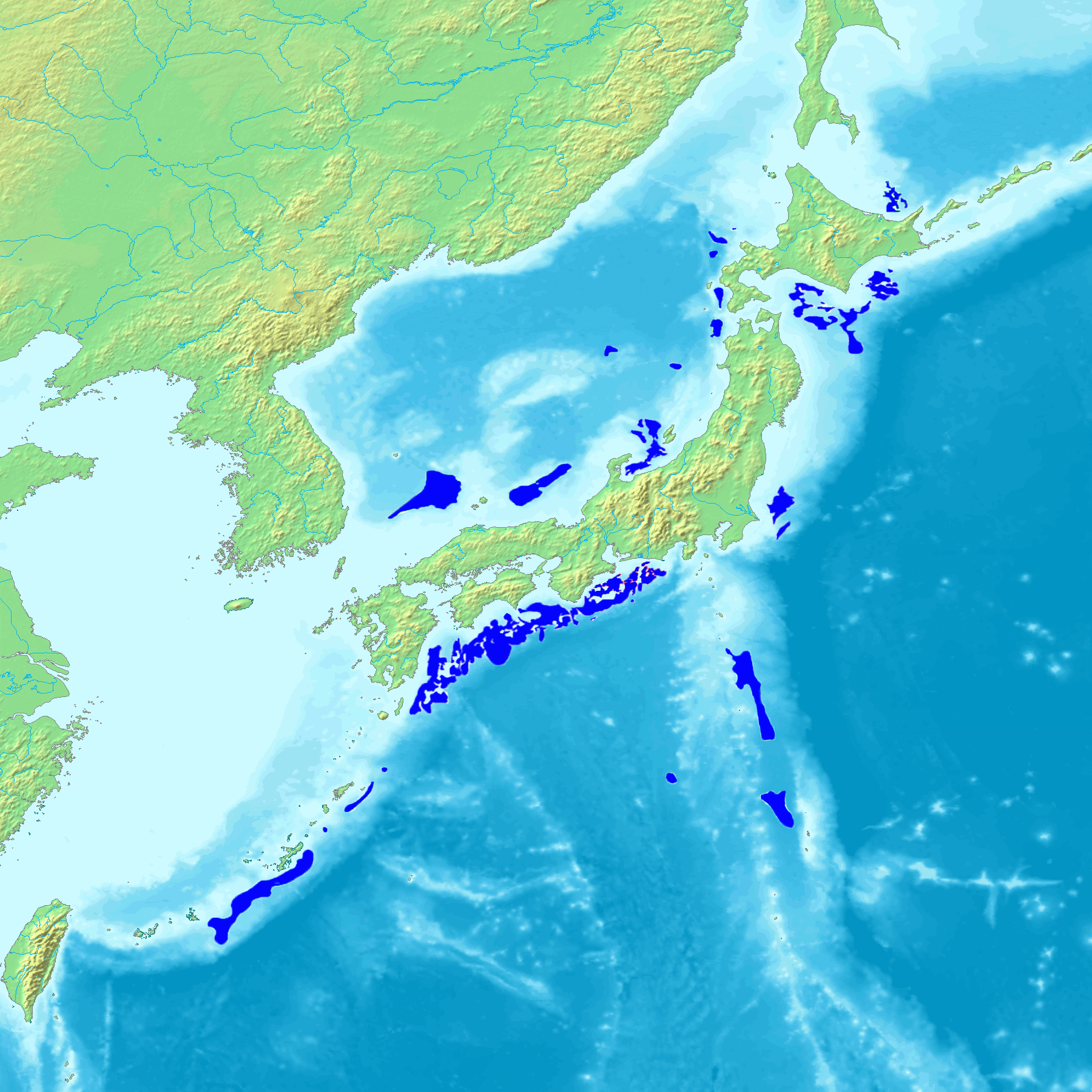 map of Japan with methane hydrate reserves around the country highlighted