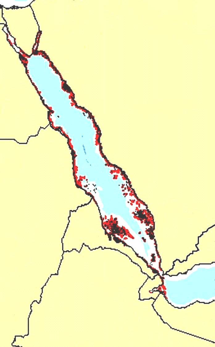 Figure 2. Coral Reefs located near the Red Sea represented on a map