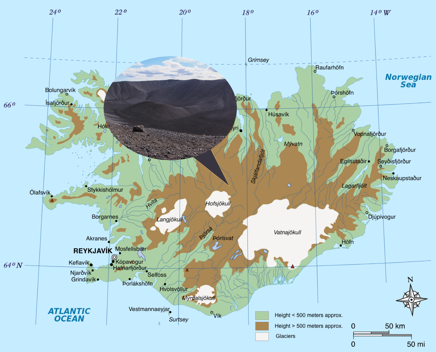 Figure 2. Map of the highlands of Iceland highlighting tephra, a dark, volcanic soil, present in these regions