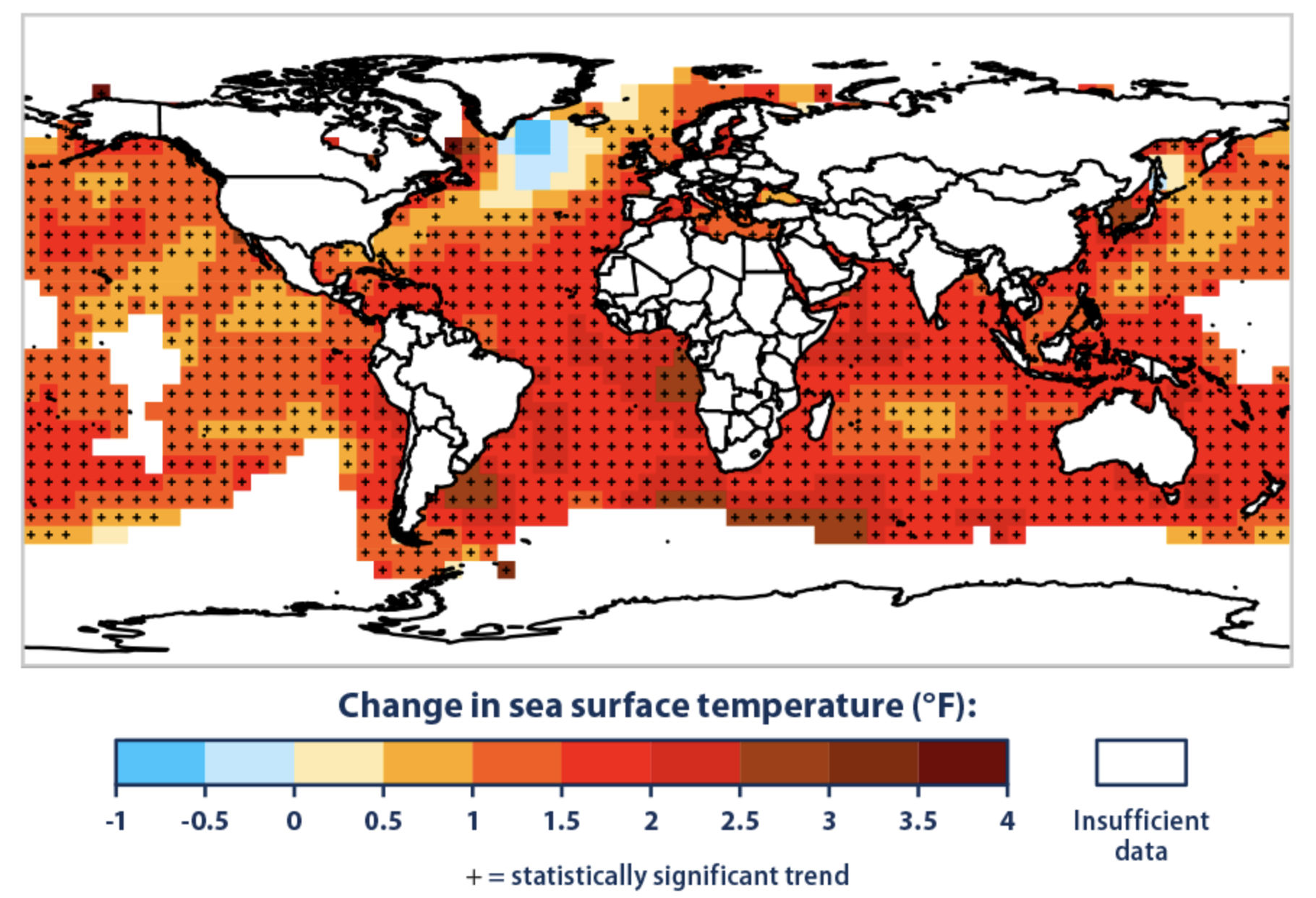world map showing change in sea surface temperature represented by varying color shades with an overall increase in surface temperature from 1901 to 2015