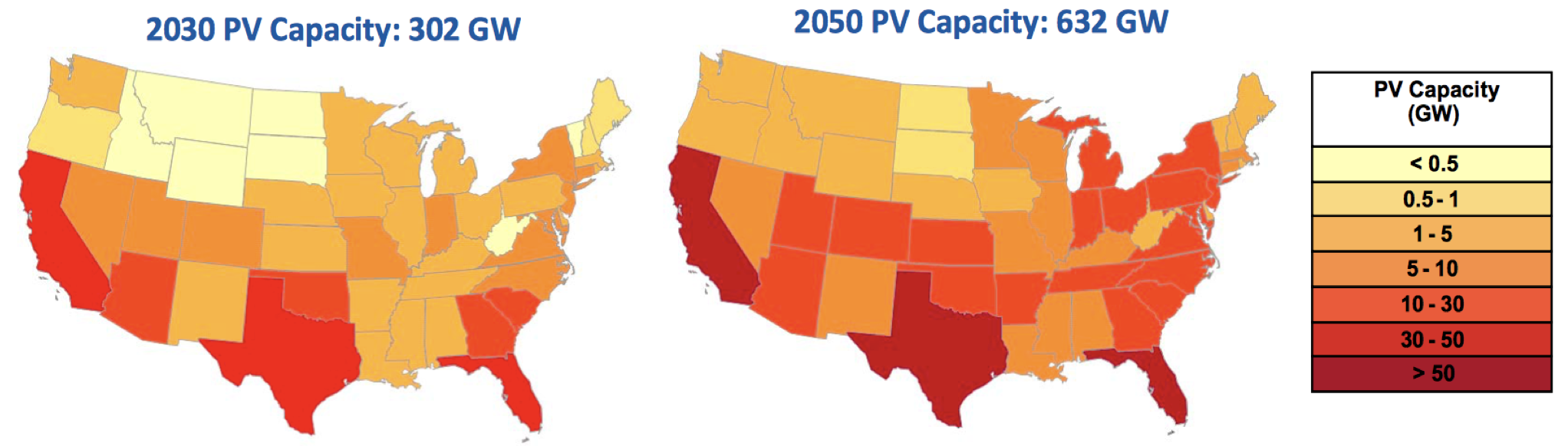 two maps of the United States showing the PV capacity in 2030 for a 302 GW system with varying shades of color and a 2050 PV capacity of 632 GW with darker shades of of color.